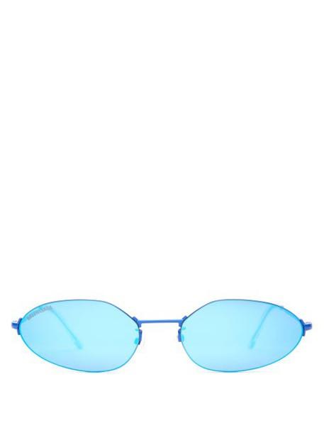 Balenciaga - Mini Oval Metal Sunglasses - Womens - Blue