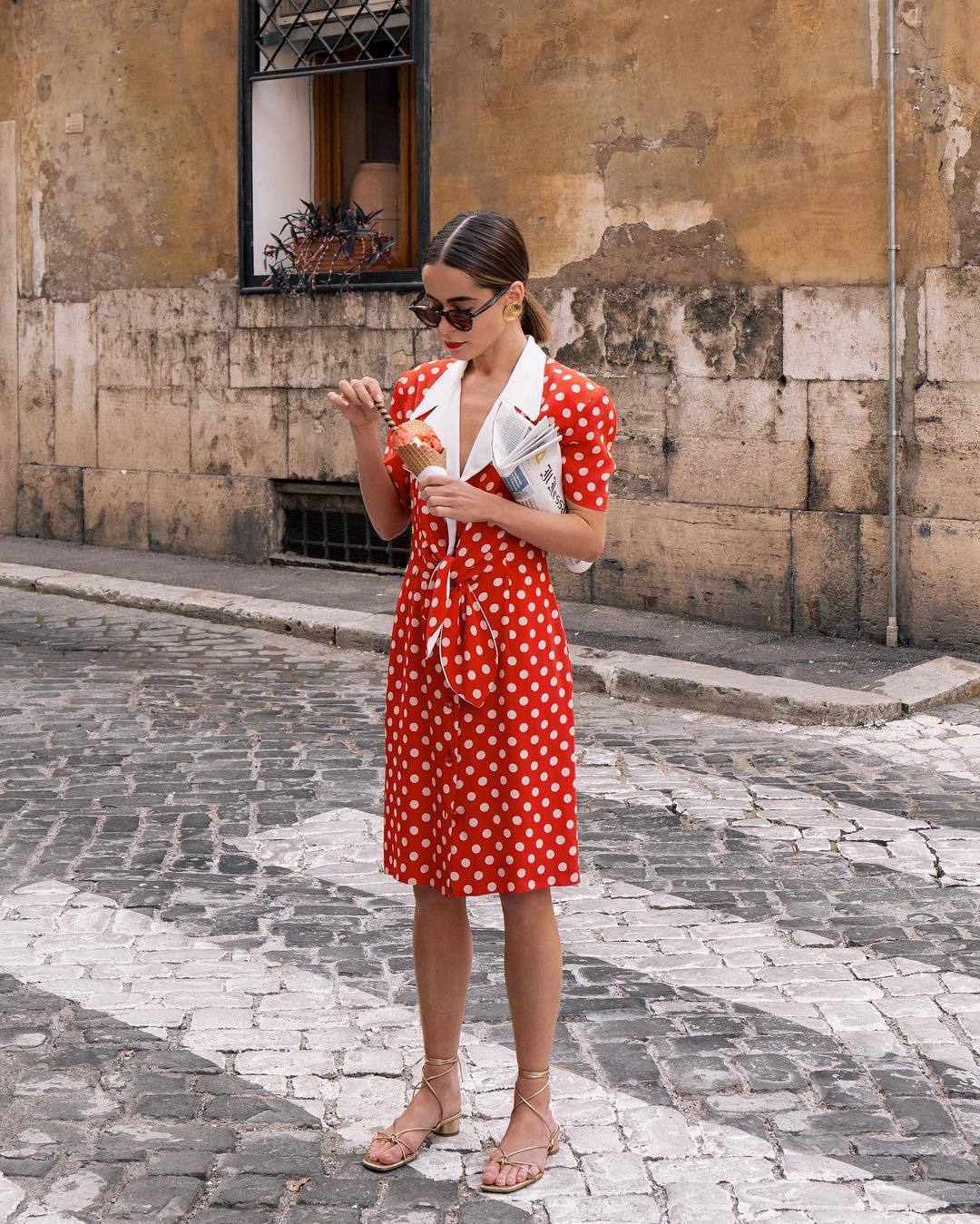 skirt midi skirt polka dots red skirt shirt short sleeve sandals set celine