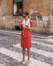 skirt,midi skirt,polka dots,red skirt,shirt,short sleeve,sandals,set,celine