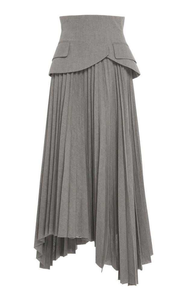 A.W.A.K.E. A.W.A.K.E. Pleated Peplum Cotton Midi Skirt in grey