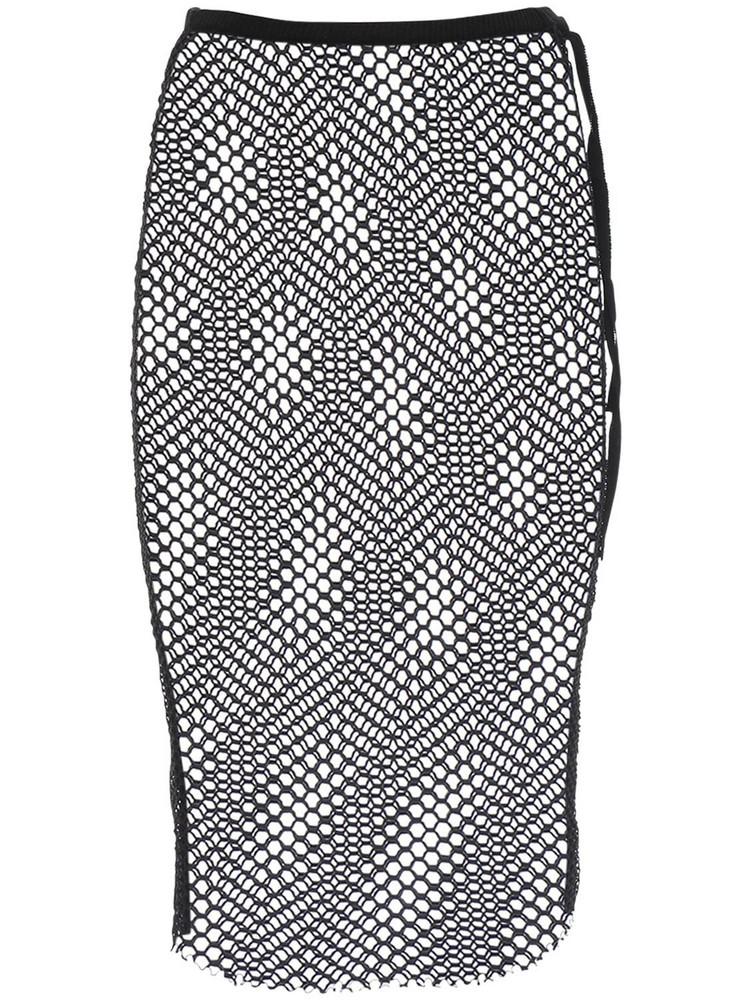 ANN DEMEULEMEESTER Mesh Net Jersey Midi Skirt in black
