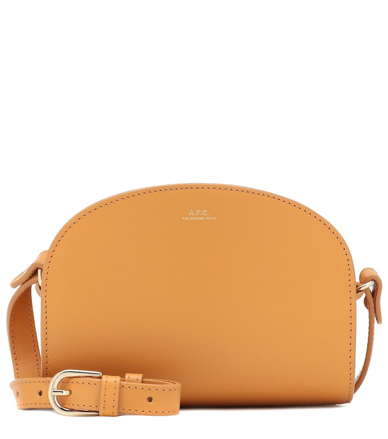 A.P.C. Demi-Lune leather shoulder bag in yellow