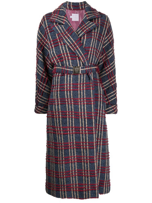 Stella Jean check print belted wrap coat in blue