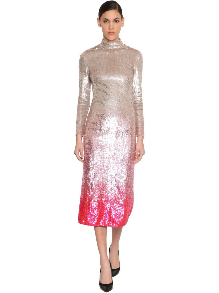 TEMPERLEY LONDON Degradé Sequined Stretch Tulle Dress in silver / multi