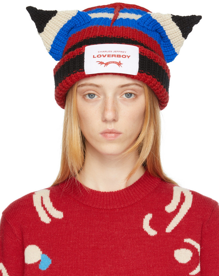 Charles Jeffrey Loverboy Multicolor Chunky Ears Stripe Beanie in red