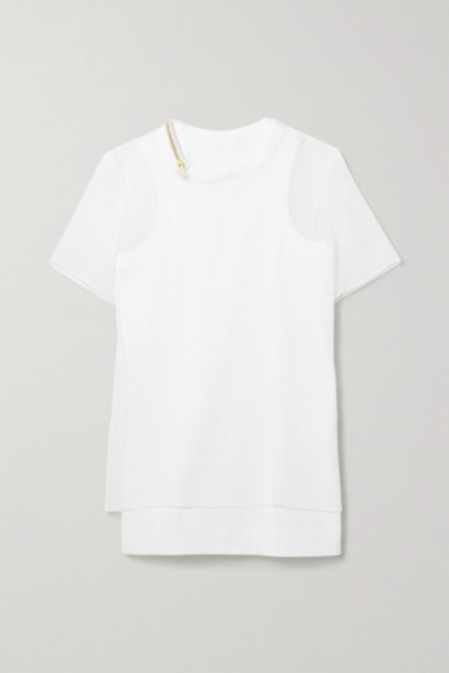 Sacai - Layered Plissé-chiffon And Ribbed Cotton-blend Jersey Top - White