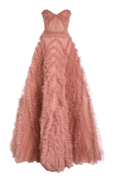 J. Mendel Ruffled Strapless Tulle Gown Size: 2 in pink