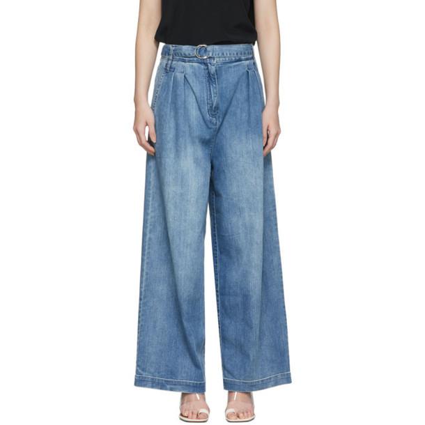 Tibi Blue Vintage Stone Denim Stella Jeans