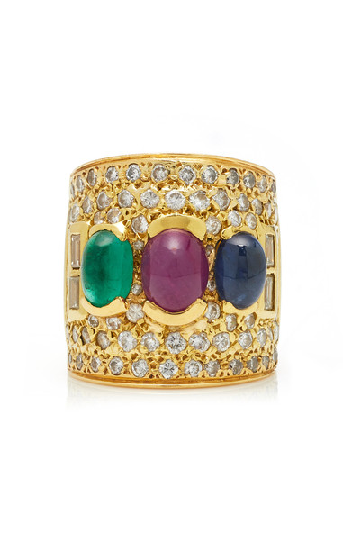 Jill Heller Vintage Vintage Multi-Colored Stone And Gold Ring