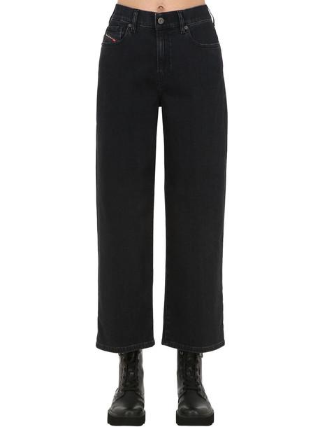 DIESEL High Rise Wide Leg Stretch Denim Jeans in black