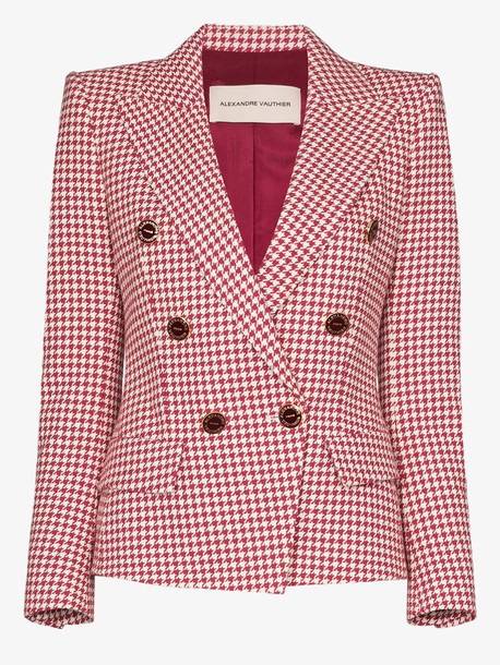 Alexandre Vauthier red double-breasted houndstooth blazer