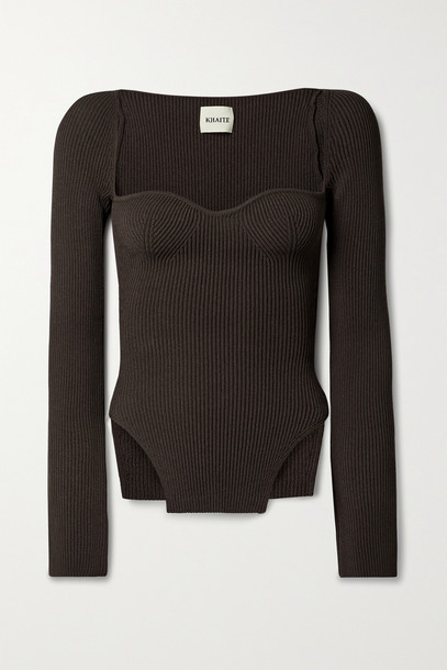 KHAITE - Maddy Ribbed-knit Sweater - Brown