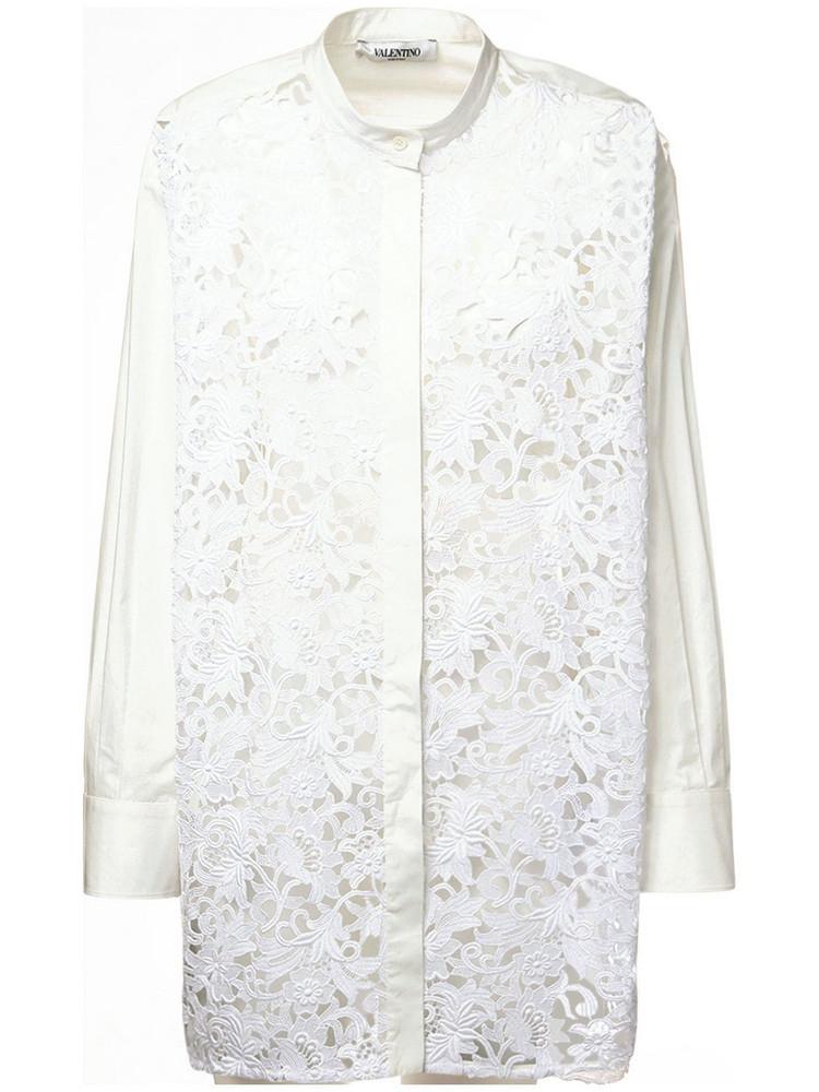 VALENTINO Cotton Poplin & Macramé Shirt in white
