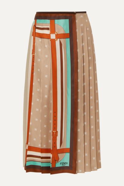 Fendi - Crochet-paneled Pleated Printed Silk-satin Wrap Skirt - Beige