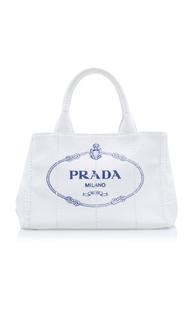 Prada Canapa Small Linen Logo Tote Bag in white