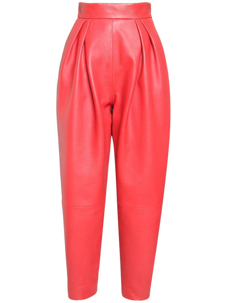 ALBERTA FERRETTI High Waist Leather Pants in red