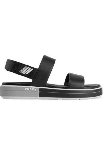 Prada - Logo-embossed Rubber-trimmed Leather Sandals - Black