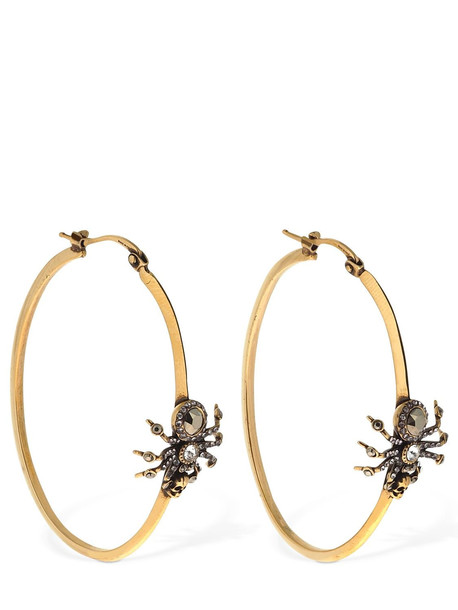 ALEXANDER MCQUEEN Crystal Spider Creole Hoop Earrings in gold / silver