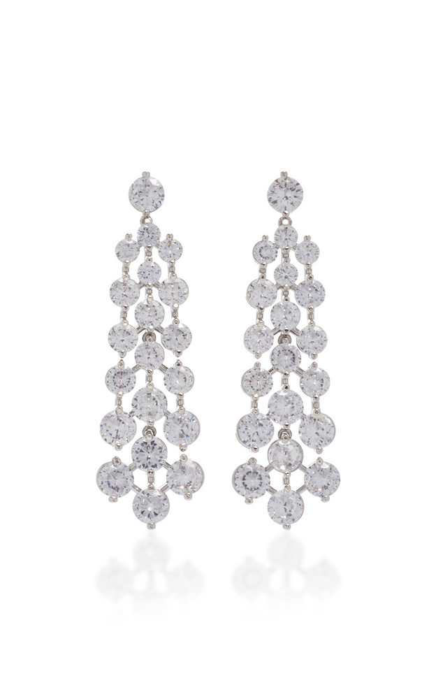 FALLON Tracks Rhodium-Plated Crystal Earrings in silver