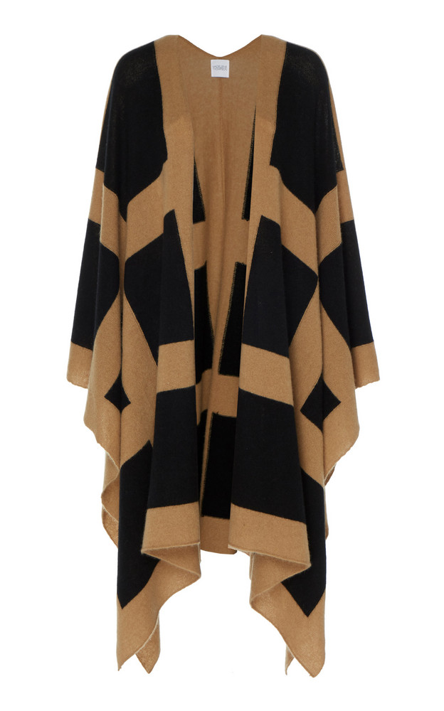 Madeleine Thompson Kratos Patterned Cashmere Open Front Cardigan in neutral