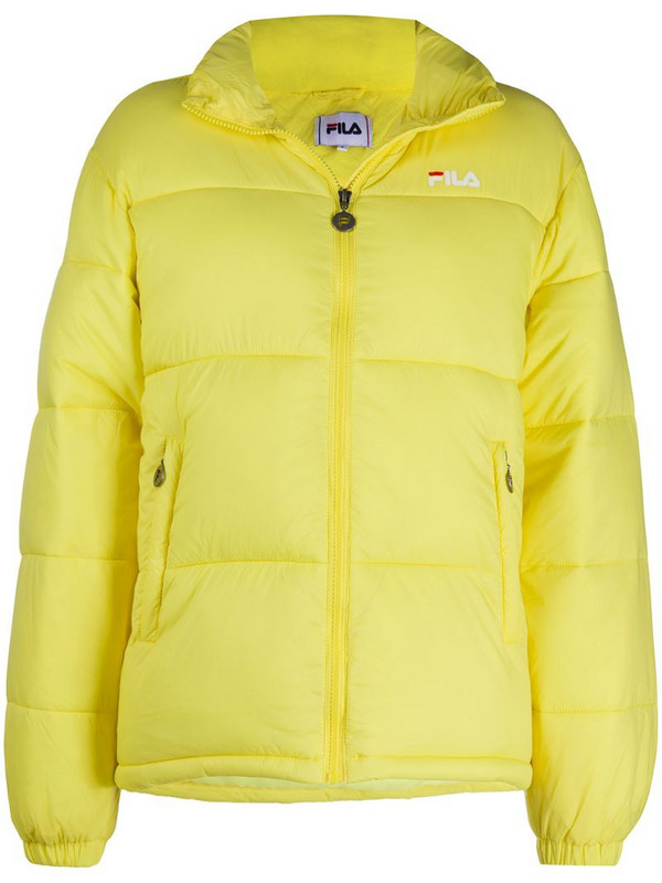 Fila logo-embroidered puffer jacket in yellow