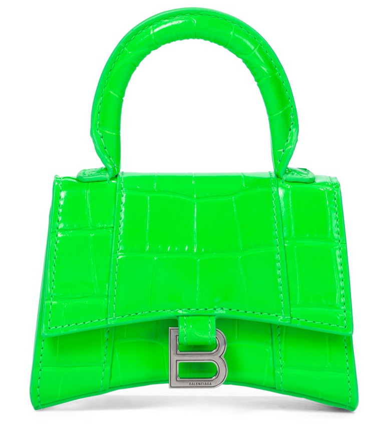 Balenciaga Hourglass Mini leather tote in green