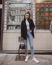 jeans,blue jeans,cropped jeans,denim,blazer,top,bag