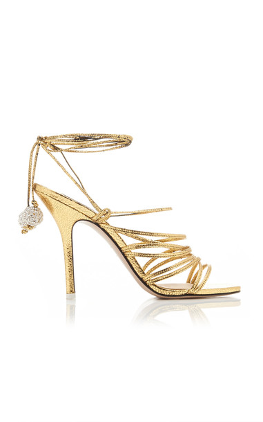 Attico Eve Leather Sandals Size: 35.5 in gold