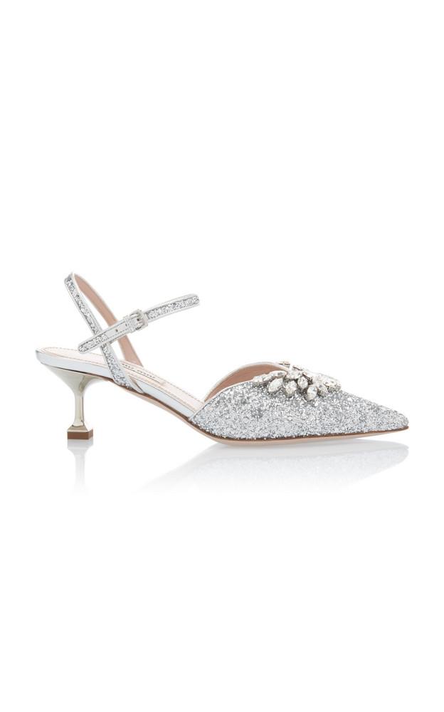 Miu Miu Embellished Glitter Kitten Heels Size: 36 in silver