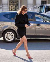 dress,black dress,mini dress,long sleeve dress,sandals