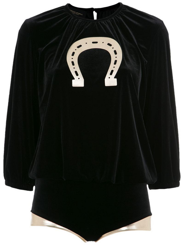 Adriana Degreas velvet top and bottom set in black