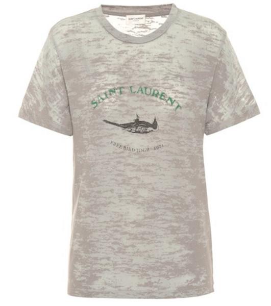 Saint Laurent Printed cotton-blend T-shirt in grey