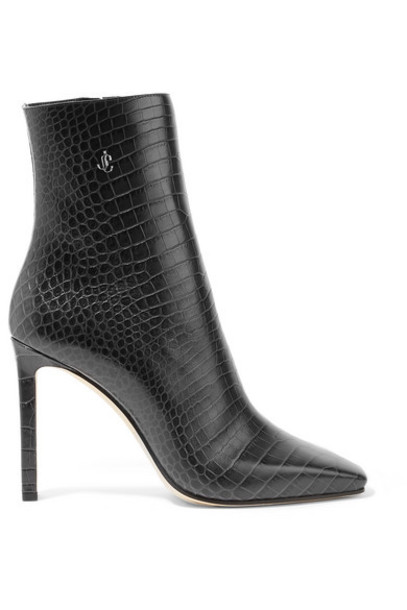 Jimmy Choo - Minori 100 Embellished Croc-effect Leather Ankle Boots - Charcoal