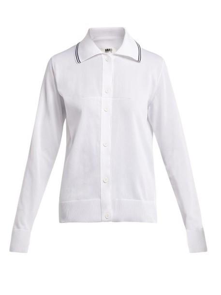 Mm6 Maison Margiela - Long Sleeved Knitted Polo Shirt - Womens - White