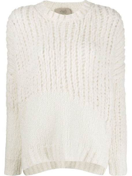 Maison Flaneur loose-fit crew neck jumper in white