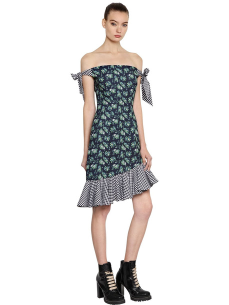 HOUSE OF HOLLAND Crepe & Gingham Off The Shoulder Dress in black / navy