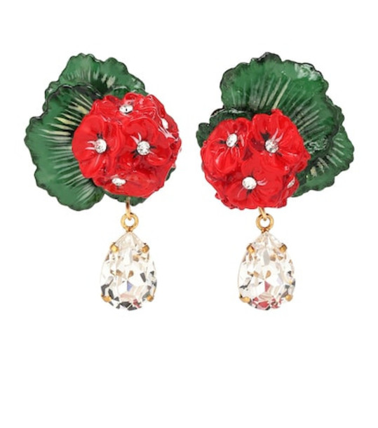 Dolce & Gabbana Floral clip-on drop earrings in red