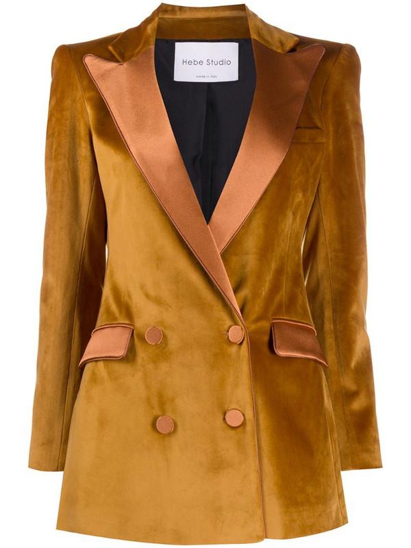 Hebe Studio velvet double-breasted jacket in yellow