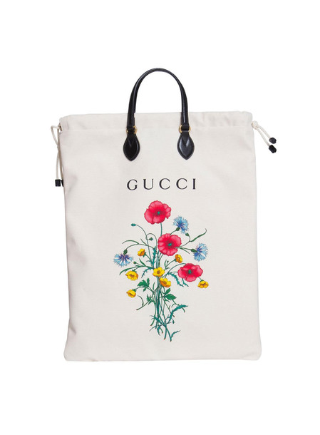 Gucci Drawstring Tote With Chateau Marmont Print Ivory In White