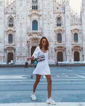 dress,mini dress,white dress,long sleeve dress,white sneakers,crossbody bag,chanel bag
