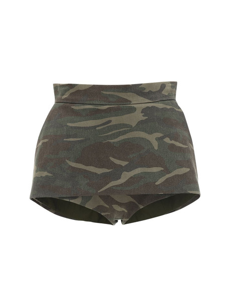PUSHBUTTON Camo Cotton Canvas Shorts in green