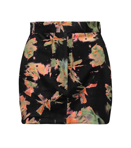 Alex Perry Regan printed velvet miniskirt in black