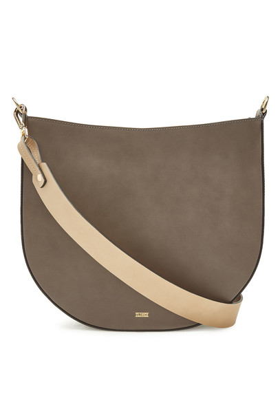 Closed Leather Shoulder Bag  in grey