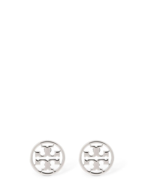 TORY BURCH Logo Circle Stud Earrings in silver