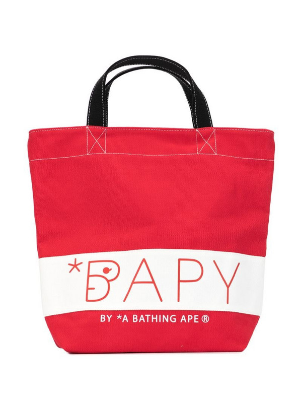 BAPY BY *A BATHING APE® signature canvas tote in red