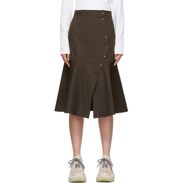 Tibi Brown Dominic Twill Skirt