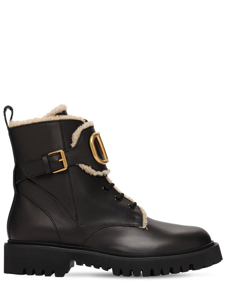 VALENTINO GARAVANI 35mm Leather & Shearling Combat Boots in black