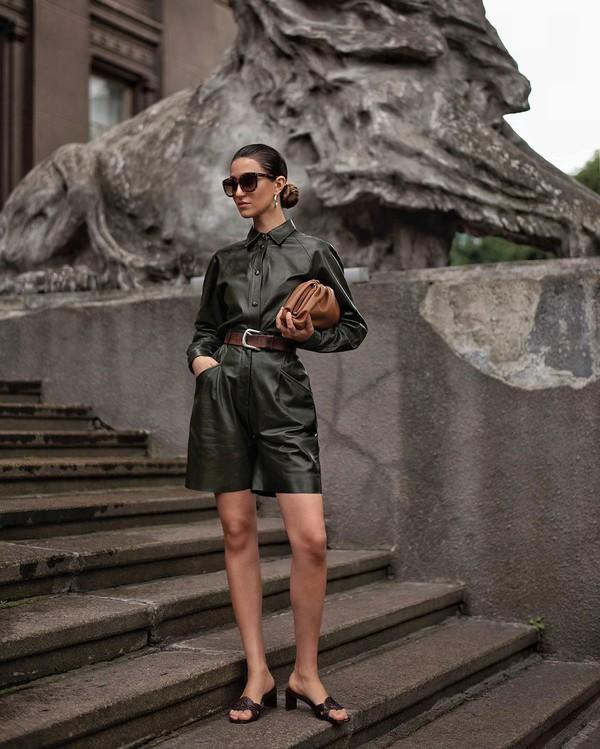 shorts leather shorts High waisted shorts leather shirt sandal heels brown bag belt