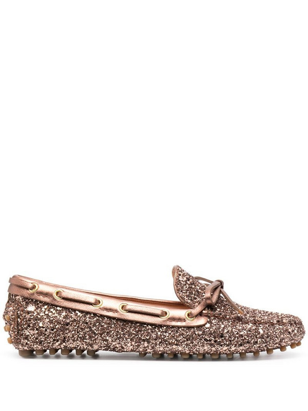 Car Shoe glittered moccasins in brown