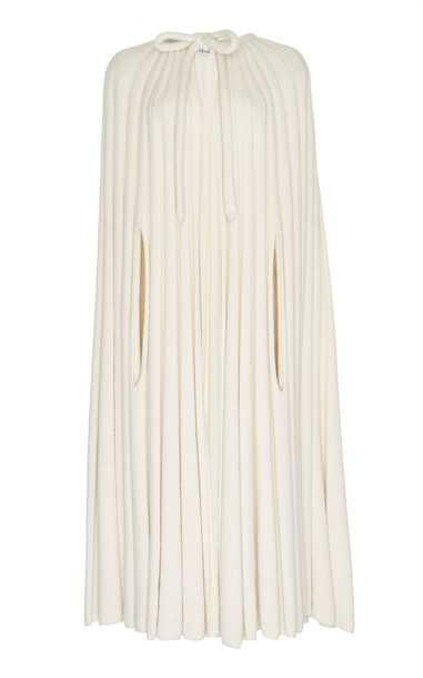 Loewe Tie-Front Ribbed-Knit Cashmere Cape in white